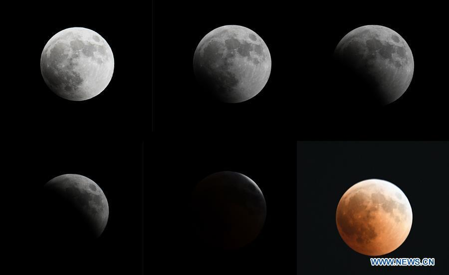 The combo photo taken on July 27, 2018 shows the process of the longest total lunar eclipse of the century in the sky over Cairo, Egypt. (Xinhua/Wu Huiwo)